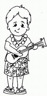 Coloring Hawaii Ukulele Playing Sheets Clipart Hawaiian Printable Kid Form Clip Hippie Surf Popular Library sketch template