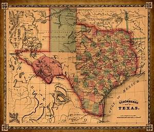 Texas Map Art - Vintage Antique Map Of Texas Drawing by