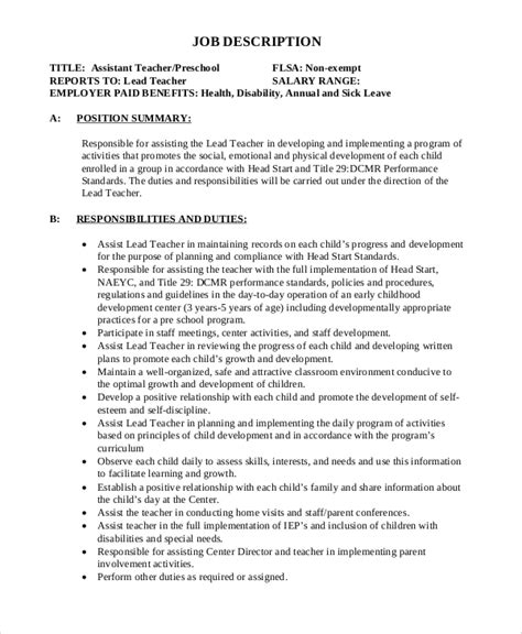 Duties And Responsibilities Of Preschool Resume by Sle Description 12 Exles In Word Pdf