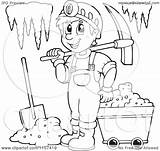 Miner Clipart Coloring Cave Mining Illustration Happy Vector Outlined Royalty Visekart Printable Regarding Notes Without Getcolorings sketch template