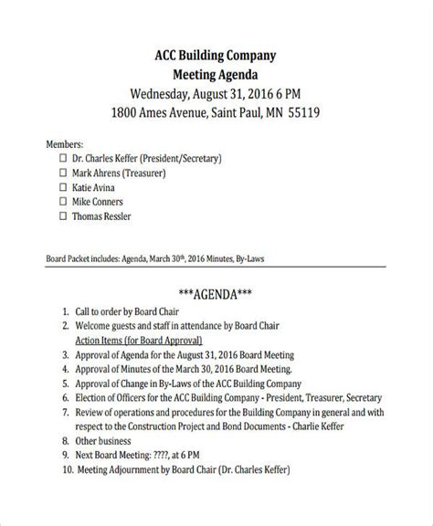 meeting agenda template  ms excel templates
