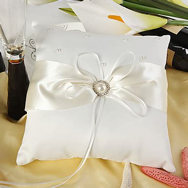 eternity wedding ring pillow in ivory satin with faux pearl 234856 2018 5 99