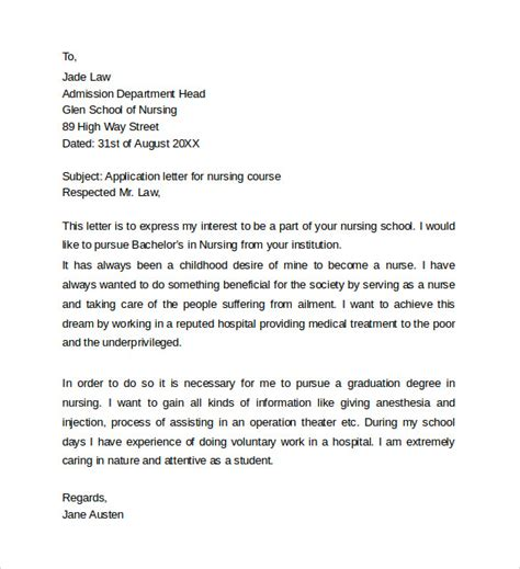 Cover Letter For Nursing Application by Sle Application Cover Letter Templates 8 Free Documents In Word Pdf