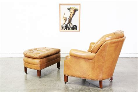hancock and moore leather chair and ottoman tufted leather chair w ottoman by hancock moore