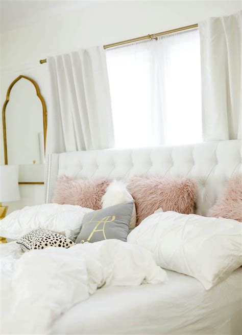 bedroom room decor gold lady grey bedrooms rooms rose bedding tufted cute gray blush havenly headboard bed experience fluffy pink