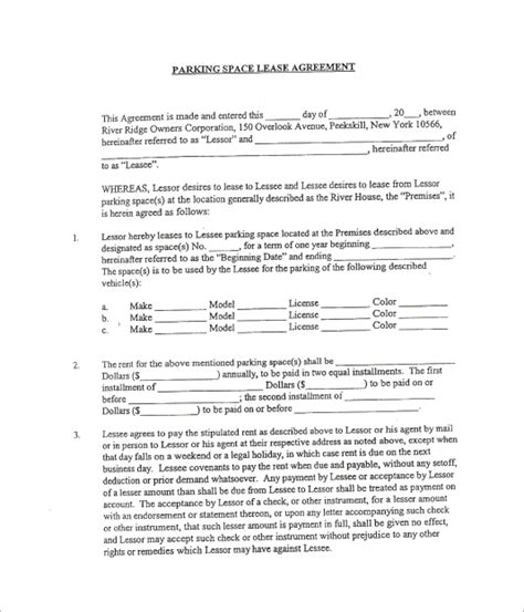 sample parking lease template   documents