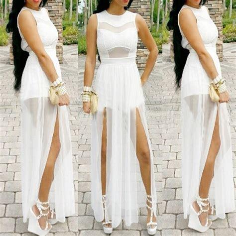 Robe Longue Womens Summer Dresses White Party Maxi Dress Long Bodycon Ladies Beach Dress Vestido ...