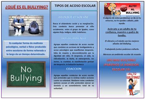 PROYECTO: EL BULLYING EN LA ESCUELA: TRIPTICO DEL PROYECTO