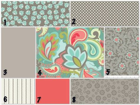 Coral and Teal Crib Bedding