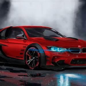 Wallpaper BMW M4, Custom, CGI, Neon, Sport car, HD, 4K