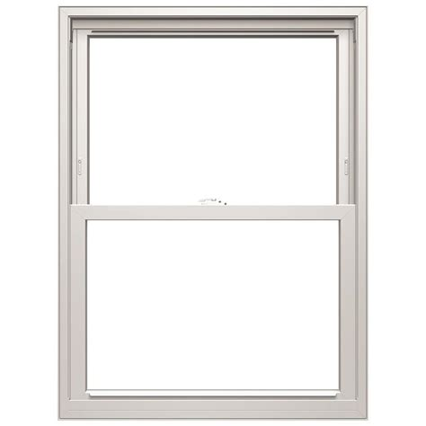 pella  series vinyl replacement white exterior double hung window rough opening