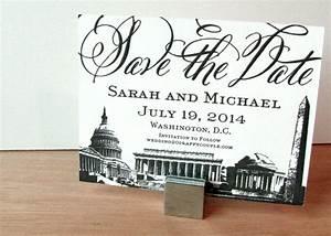 washington dc save the dates letterpress vintage monuments With wedding invitation printing washington dc