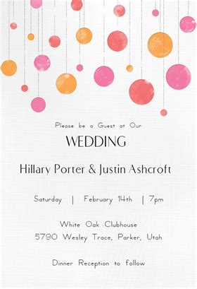 suspended circles wedding invitation template