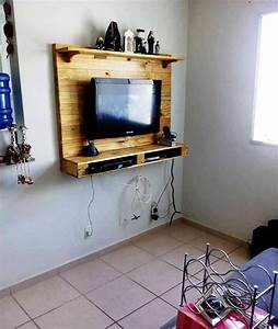 Meuble Tv Accroché Au Mur : support tv mural bois gp49 jornalagora ~ Melissatoandfro.com Idées de Décoration