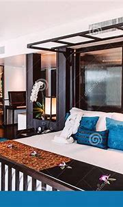 Tropical Resort Bedroom With Wooden Bed, Contemporary ...