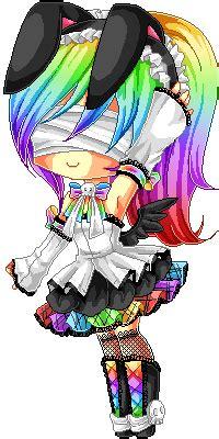pixel rainbow bunny  chikukko  deviantart
