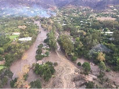 Montecito Debris Flow Area Burn Fire Paths
