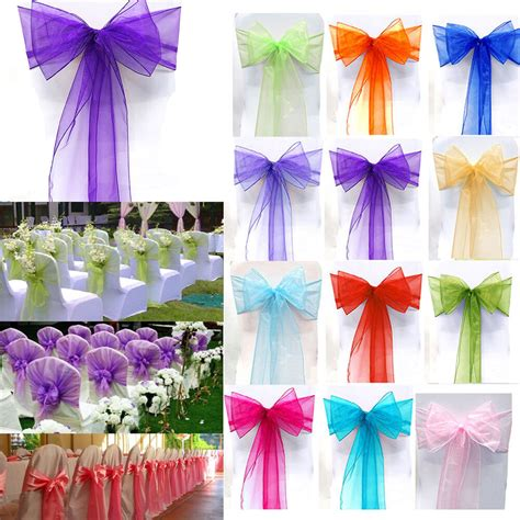 10 25 50 100pcs organza chair cover sashes wedding party banquet bow decoration ebay