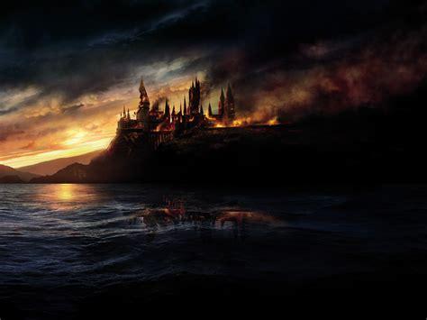 wallpaper hogwarts burning harry potter   deathly