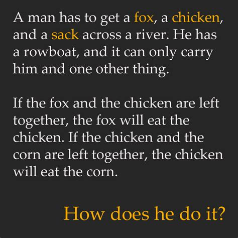 Rowboat Riddle by A Has To Get A Fox A Chicken And A Sack Across A
