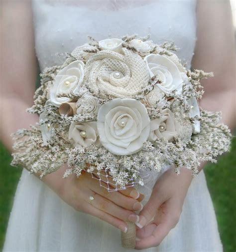 Rustic Wedding Bouquet Cream Ivory Sola Wood Flower