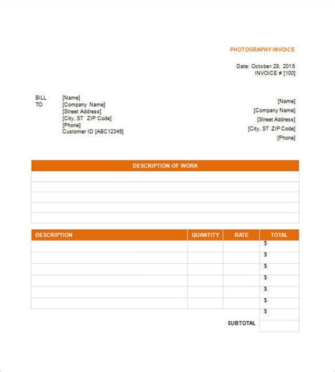 photography receipt template examples  word