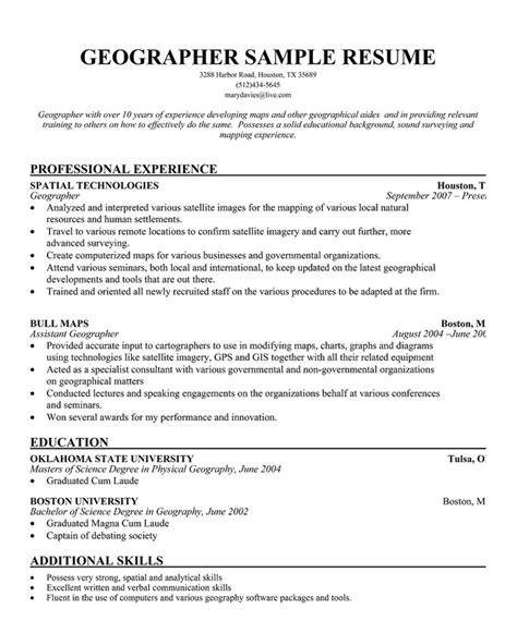 geographer resume sle free resume resumecompanion