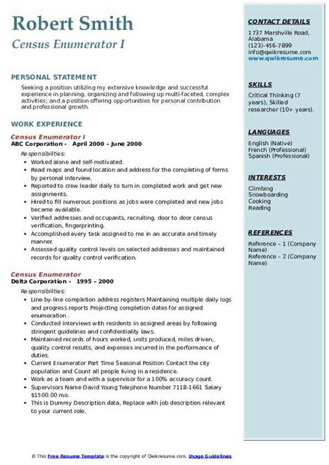 census enumerator resume samples qwikresume
