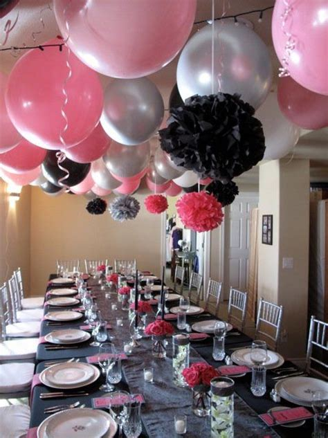 Pink Hanging Decorations - hanging air filled balloons from ceiling using 36