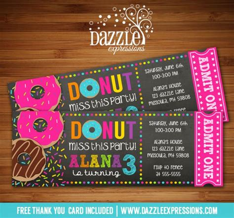 printable chalkboard donut ticket birthday invitation
