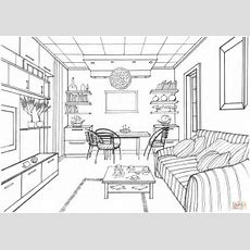 Living Room With A Luminous Ball Coloring Page  Free