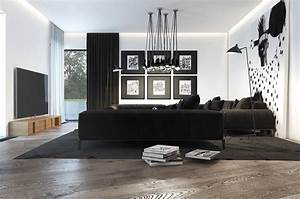 Black, And, White, Living, Room, Designs, With, Trendy, And, Perfect, Decor, Ideas