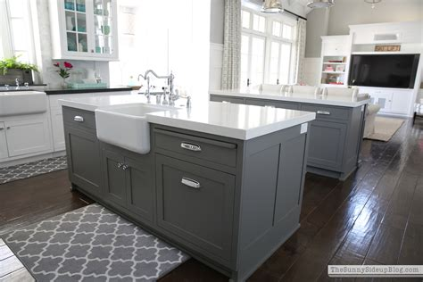gray kitchen island let s talk rugs the side up