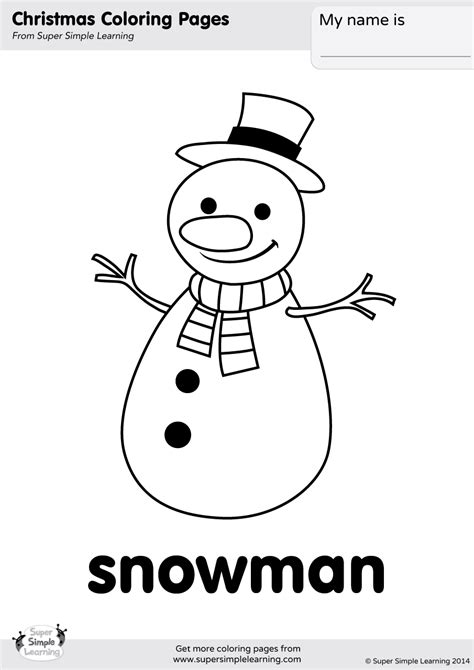 snowman coloring page super simple