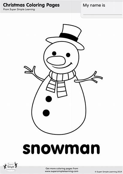 Snowman Coloring Simple Pages Christmas Learning Worksheet