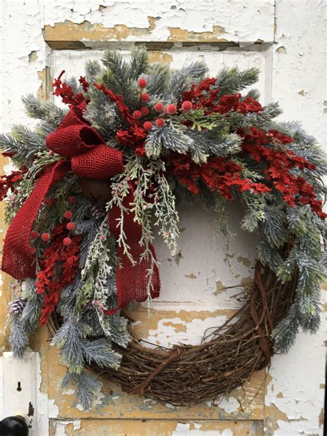rustic christmas wreath holiday wreath christmas front