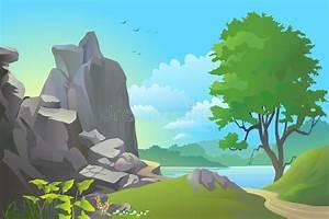 River, Hills, And, Rocks, Landscape, Stock, Vector