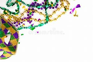A Mardi Gras Mask And Beads On A White Background With ...