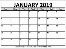 Printable January 2019 Calendar towncalendarscom