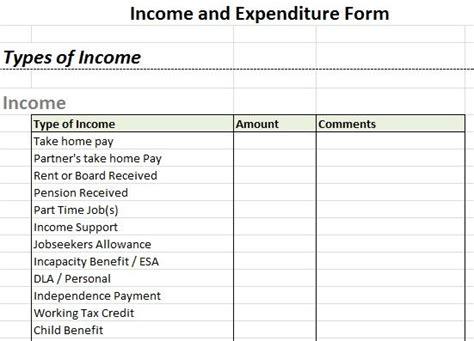 income  expenditure form debt advice blog