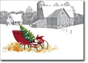 Pencil Sketch Farm Scenes