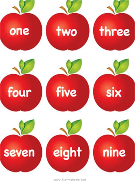 apple pairs number words fuel  brain