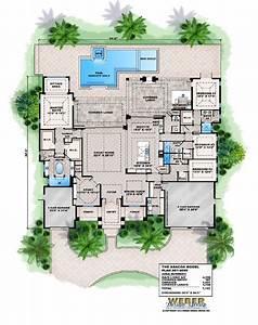 Mansion, Single, Story, Mediterranean, House, Plans, Pool, Plan