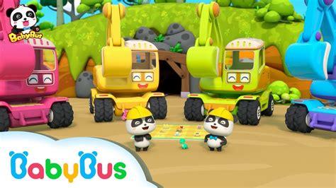 si e auto babybus baby panda digging treasure with excavators car toys