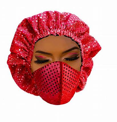 Mask Headdress Sequined Fabric Covering Wrap Head