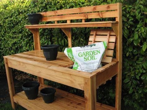 custom raised gardens potting bench garden