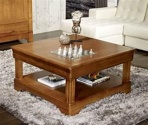 Table Basse Carrée 100x100 : table basse carr e en merisier de style louis philippe ~ Teatrodelosmanantiales.com Idées de Décoration