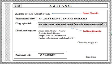 Contoh Kwitansi Pembayaran Excel by Membuat Kwitansi Menggunakan Vba Ms Excel Trik Inovatif