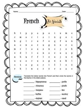 zoo animals in french worksheets french zoo animals worksheet packet by sunny side up