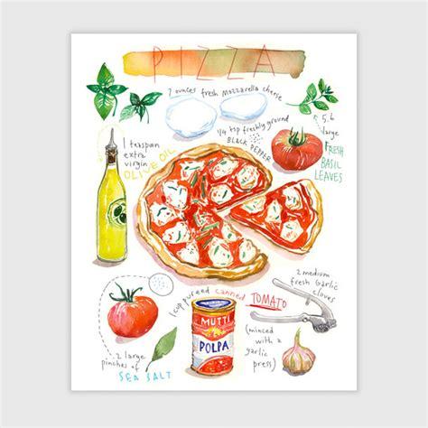 cuisiner italien pizza recette illustrée aquarelle décoration cuisine